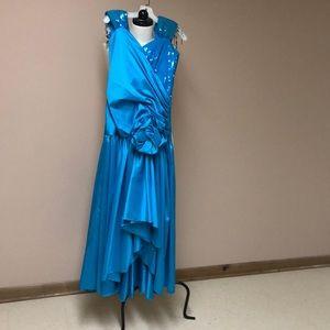 Aqua blue cocktail dress by Alyce Designs